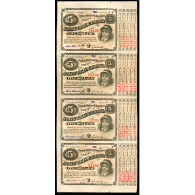 Image for 1880s Uncut Sheet of Four $5 State of Louisiana Red-Serials Bonds, Crisp Unused from Littleton Coin Company