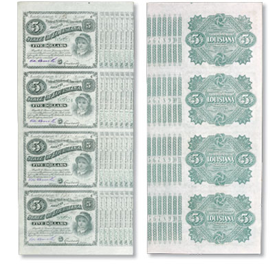 Image for 1880s Uncut Sheet of Four $5 State of Louisiana Green-Serials Bonds, Crisp Unused from Littleton Coin Company