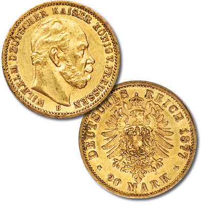 Image for 1871-88 Prussia Gold 20 Marks Wilhelm I from Littleton Coin Company