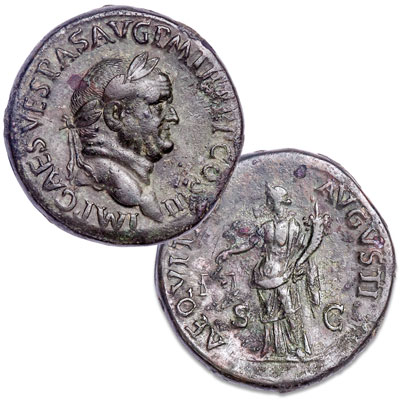 Image for A.D. 69-79 Vespasian Bronze Sestertius from Littleton Coin Company
