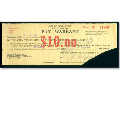 Image for 1932 South Carolina $10 Pay Warrant from Littleton Coin Company