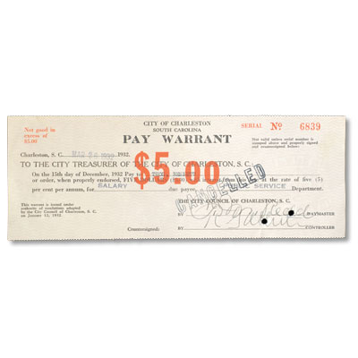 Image for 1932 South Carolina $5 Pay Warrant from Littleton Coin Company