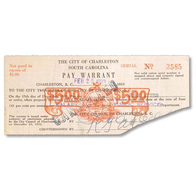 Image for 1933 South Carolina $5 Pay Warrant from Littleton Coin Company