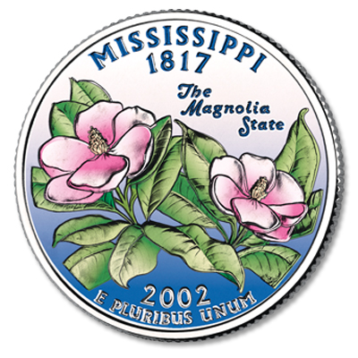 Image for 2002 Colorized Mississippi Statehood Quarter from Littleton Coin Company