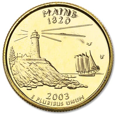 Image for 2003 Gold-Plated Maine Statehood Quarter from Littleton Coin Company
