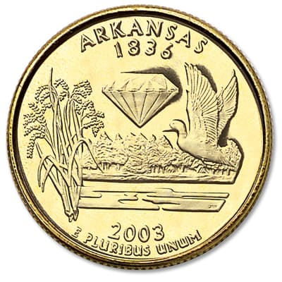 Image for 2003 Gold-Plated Arkansas Statehood Quarter from Littleton Coin Company