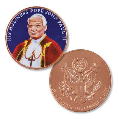Image for Colorized Pope John Paul II Medal from Littleton Coin Company