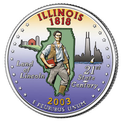 Image for 2003 Colorized Illinois Statehood Quarter from Littleton Coin Company