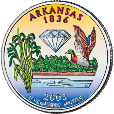 Image for 2003 Colorized Arkansas Statehood Quarter from Littleton Coin Company