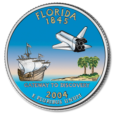 Image for 2004 Colorized Florida Statehood Quarter from Littleton Coin Company