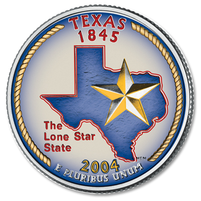 Image for 2004 Colorized Texas Statehood Quarter from Littleton Coin Company