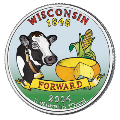 Image for 2004 Colorized Wisconsin Statehood Quarter from Littleton Coin Company