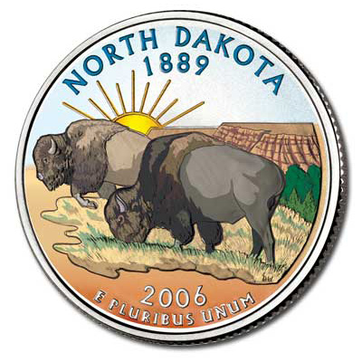 Image for 2006 Colorized North Dakota Statehood Quarter from Littleton Coin Company