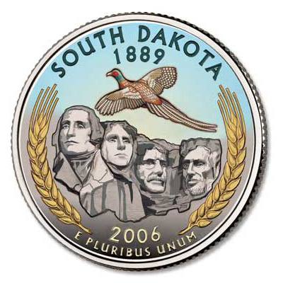 Image for 2006 Colorized South Dakota Statehood Quarter from Littleton Coin Company