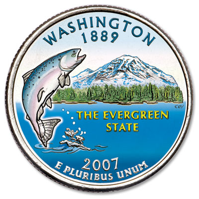Image for 2007 Colorized Washington Statehood Quarter from Littleton Coin Company