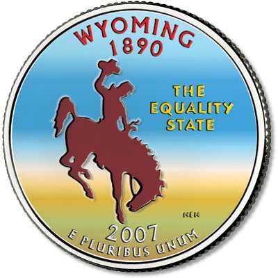 Image for 2007 Colorized Wyoming State Quarter from Littleton Coin Company