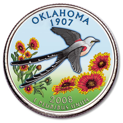 Image for 2008 Colorized Oklahoma Statehood Quarter from Littleton Coin Company