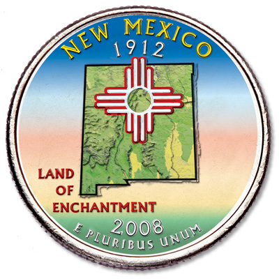Image for 2008 Colorized New Mexico Statehood Quarter from Littleton Coin Company