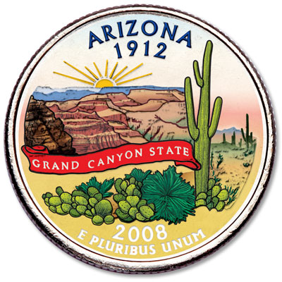 Image for 2008 Colorized Arizona Statehood Quarter from Littleton Coin Company
