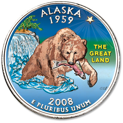 Image for 2008 Colorized Alaska Statehood Quarter from Littleton Coin Company
