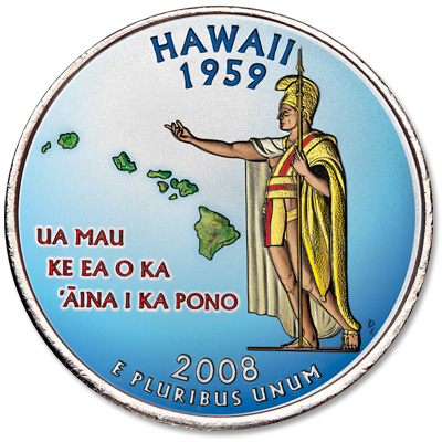 Image for 2008 Colorized Hawaii Statehood Quarter from Littleton Coin Company
