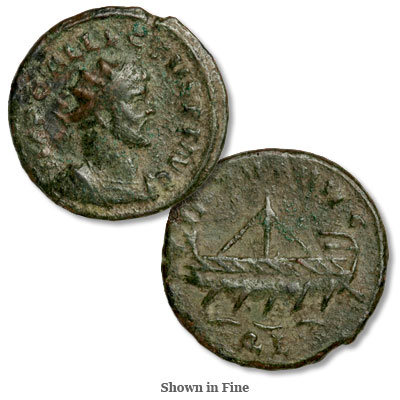 Image for A.D. 293-296 Allectus Bronze Reduced Antoninianus, Galley Reverse from Littleton Coin Company