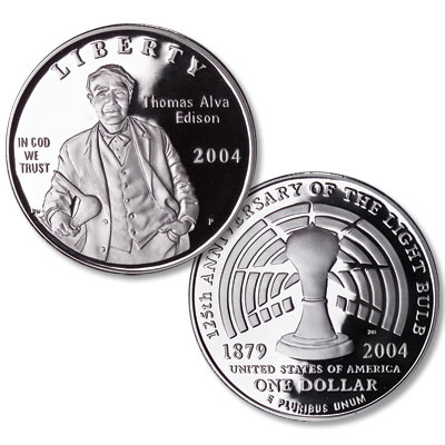 Image for 2004-P Thomas Alva Edison Silver Dollar, No display Case, Choice Proof 63 from Littleton Coin Company