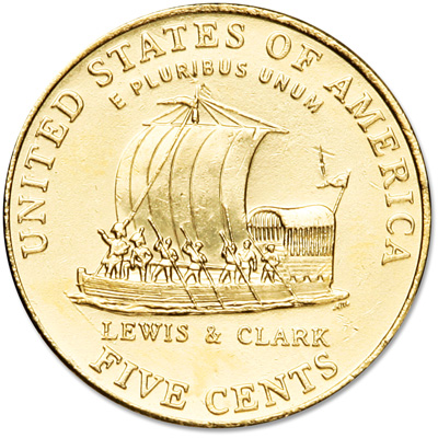 Image for 2004 Gold-Plated Jefferson Keelboat Nickel from Littleton Coin Company