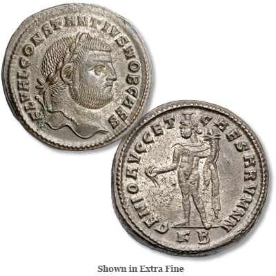 Image for A.D. 305-306 Constantius I Bronze-Silvered Antoninianus from Littleton Coin Company
