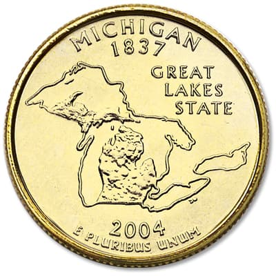 Image for 2004 Gold-Plated Michigan Statehood Quarter from Littleton Coin Company