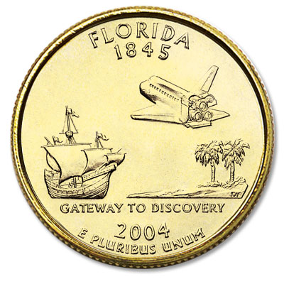 Image for 2004 Gold-Plated Florida Statehood Quarter from Littleton Coin Company