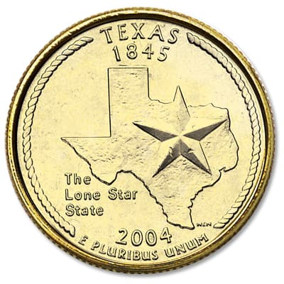 Image for 2004 Gold-Plated Texas Quarter from Littleton Coin Company