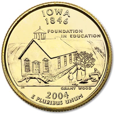 Image for 2004 Gold-Plated Iowa Quarter from Littleton Coin Company