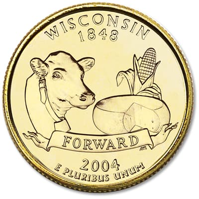 Image for 2004 Gold-Plated Wisconsin Statehood Quarter from Littleton Coin Company