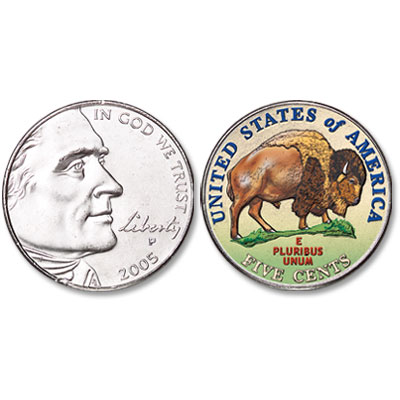 Image for 2005 Colorized Jefferson Bison Nickel from Littleton Coin Company