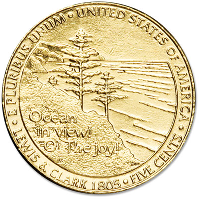 Image for 2005 Gold-Plated Ocean in View Jefferson Nickel from Littleton Coin Company