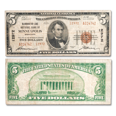 Image for 1929 $5 National Bank Note, Type 2 from Littleton Coin Company