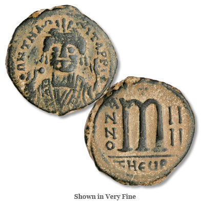 Image for A.D. 582-602 Maurice Tiberius Copper Follis from Littleton Coin Company