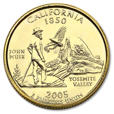 Image for 2005 Gold-Plated California Statehood Quarter from Littleton Coin Company