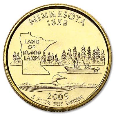 Image for 2005 Gold-Plated Minnesota Statehood Quarter from Littleton Coin Company