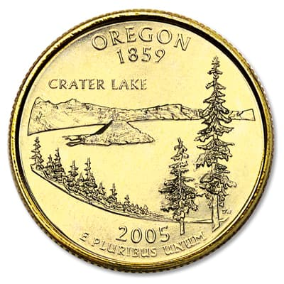 Image for 2005 Gold-Plated Oregon Statehood Quarter from Littleton Coin Company