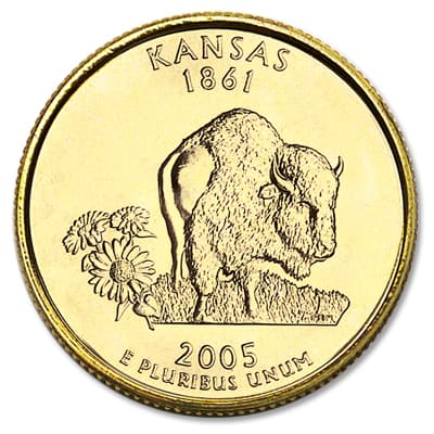 Image for 2005 Gold-Plated Kansas Statehood Quarter from Littleton Coin Company