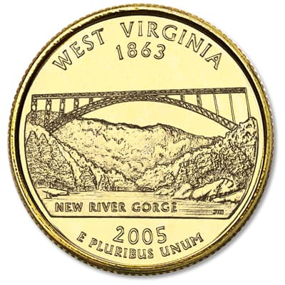 Image for 2005 Gold-Plated West Virginia Statehood Quarter from Littleton Coin Company