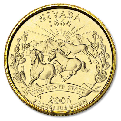 Image for 2006 Gold-Plated Nevada Statehood Quarter from Littleton Coin Company