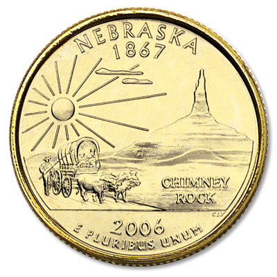 Image for 2006 Gold-Plated Nebraska Statehood Quarter from Littleton Coin Company