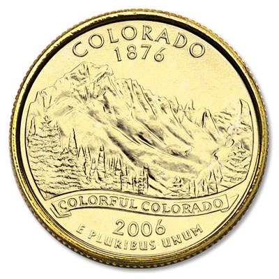 Image for 2006 Gold-Plated Colorado Statehood Quarter from Littleton Coin Company