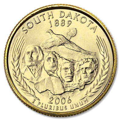Image for 2006 Gold-Plated South Dakota Statehood Quarter from Littleton Coin Company