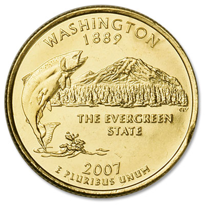 Image for 2007 Gold-Plated Washington Statehood Quarter from Littleton Coin Company