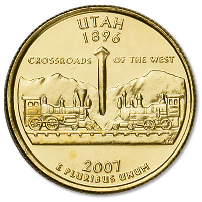 Image for 2007 Gold-Plated Utah Statehood Quarter from Littleton Coin Company