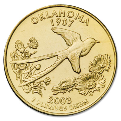 Image for 2008 Gold-Plated Oklahoma Statehood Quarter from Littleton Coin Company